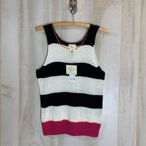 NWT Andrea Jovine Black White Stripe Shell M